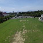 上空から芝生グランドと第2学生駐車場撮影