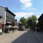 古い街並みが商店街に再開発されています