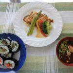 ロング巻き寿司、讃岐さーもんの巻き寿司、ゲタガレイのムニエル、オリーブハマチのあらの赤だし、オリーブハマチの漬け(試食)